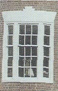 Jack arch over window of Federal house, 1776-1820.