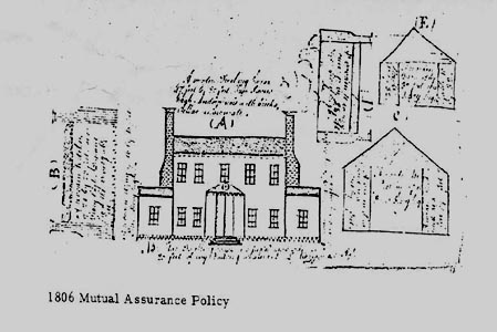 1806 insurance policy drawing of Brookfield Plantation, a Henrico County, Virginia structure that no longer exists.