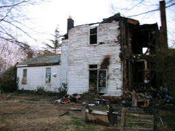Back of Craighton Farm House, a Henrico County, Virginia structure damaged by fire.