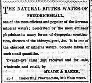 Bitter Water Ad from Richmond Times Dispatch, April 5 1873.