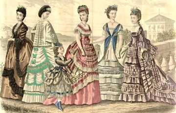 Image of dresses wtih fluting from Godey's Lady's Book magazine August 1870.