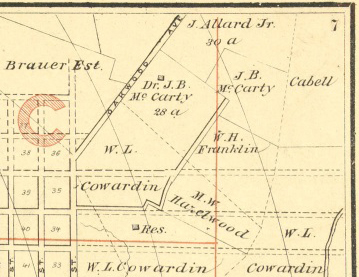 Map of Dr. James Ball McCarty's 28-acre property.