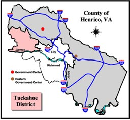 Tuckahoe District Map, Henrico County, Virginia